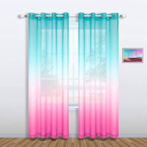 Pink and Green Curtains for Mermaid Bedroom Decor Set of 1 Sheer Panel Grommet Gradient Ombre Mermaid Curtains for Girls Room Little Kids Princess Decorations 52 x 63 Inch Length