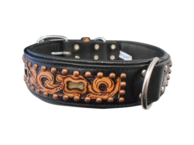 Angel Pet Supplies 11053 Leather San Antonio Dog Collar, 24  X 1.5 , Midnight Black