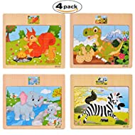 CCLIFE Wooden Jigsaw Puzzles Set for Kids 2-5 Years 12 Piece Colorful Wooden Educational Animal(4 Puzzles)