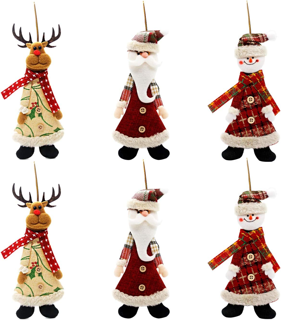 Kyatti 6ct Plush Holiday Characters Christmas Tree Ornaments Set Xmas Hanging Decorations Santa Reindeer Snowman for Holiday Party Decor