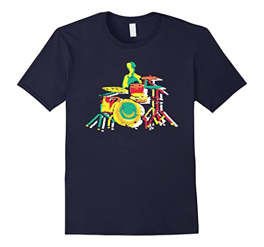 Mens Colorful Drummer T-shirt Small Navy