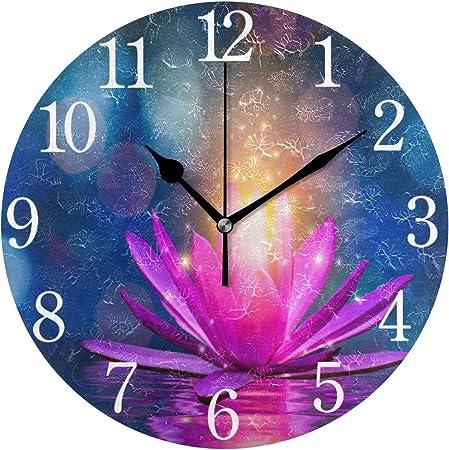 Aabao Indien Lotus Rose étincelle Zen Horloge Murale Rond