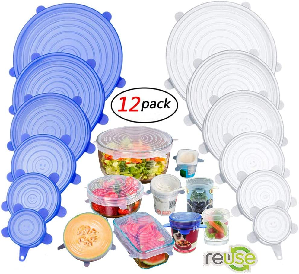 Silicone Stretch Lids, Insta Lids, Instalids, Reusable Silicone Lids With Hanging Holes Fit Round & Square Bowls, Jars, Various Sizes Silicone Bowl Covers Keeping Food Fresh Freezer Safe