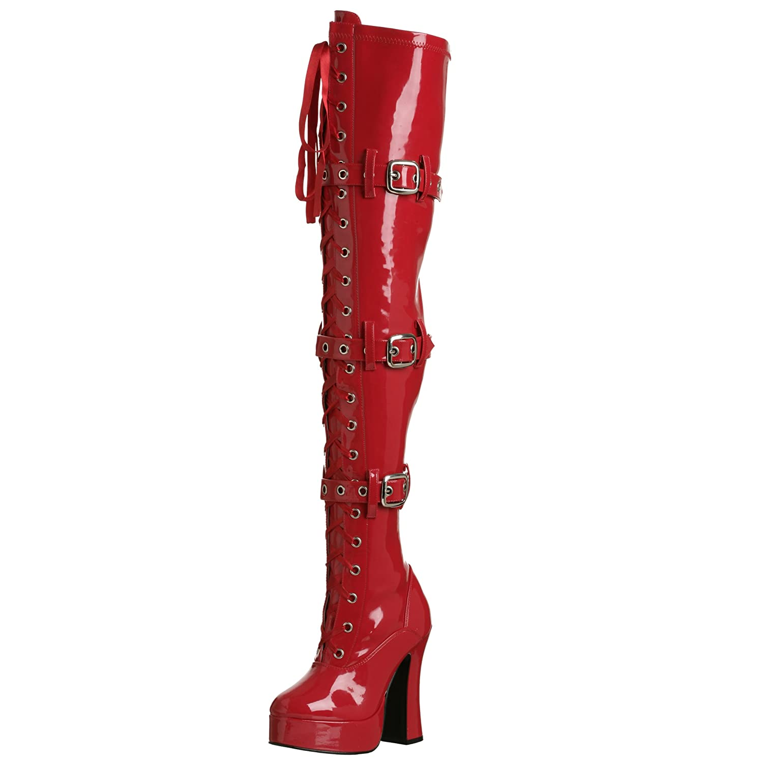 Pleaser Women's Electra-3028 Boot B0002Z1N2M 6 B(M) US|Red Stretch Patent
