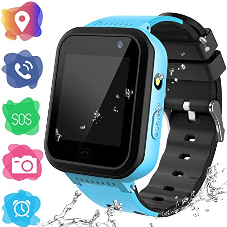Kids Smartwatch Phone for Girls Boys - Children Touch Phone Wrist Watch with SOS Call Voice Intercom Camera Flashlight Voice Maths Game for Students ...