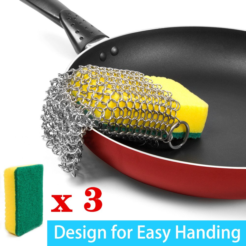 Cast Iron Cleaner, Hawaoo Stainless Steel Cast Iron Double Chainmail Scrubber Perfect for Cookware Black Hardened, Pasta, Residue, More Easy to Grip (Cleaner + 3pcs Sponges)