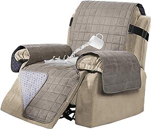 100% Waterproof Recliner Covers Velvet Slip Resistant Recliner Sofa Slipcover Seat Width Up to 28
