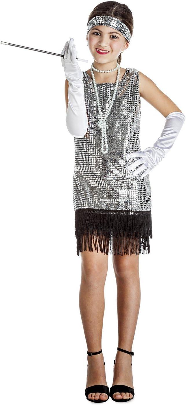 Disfraz de Charlestón Plata con flecos para niña: Amazon.es ...