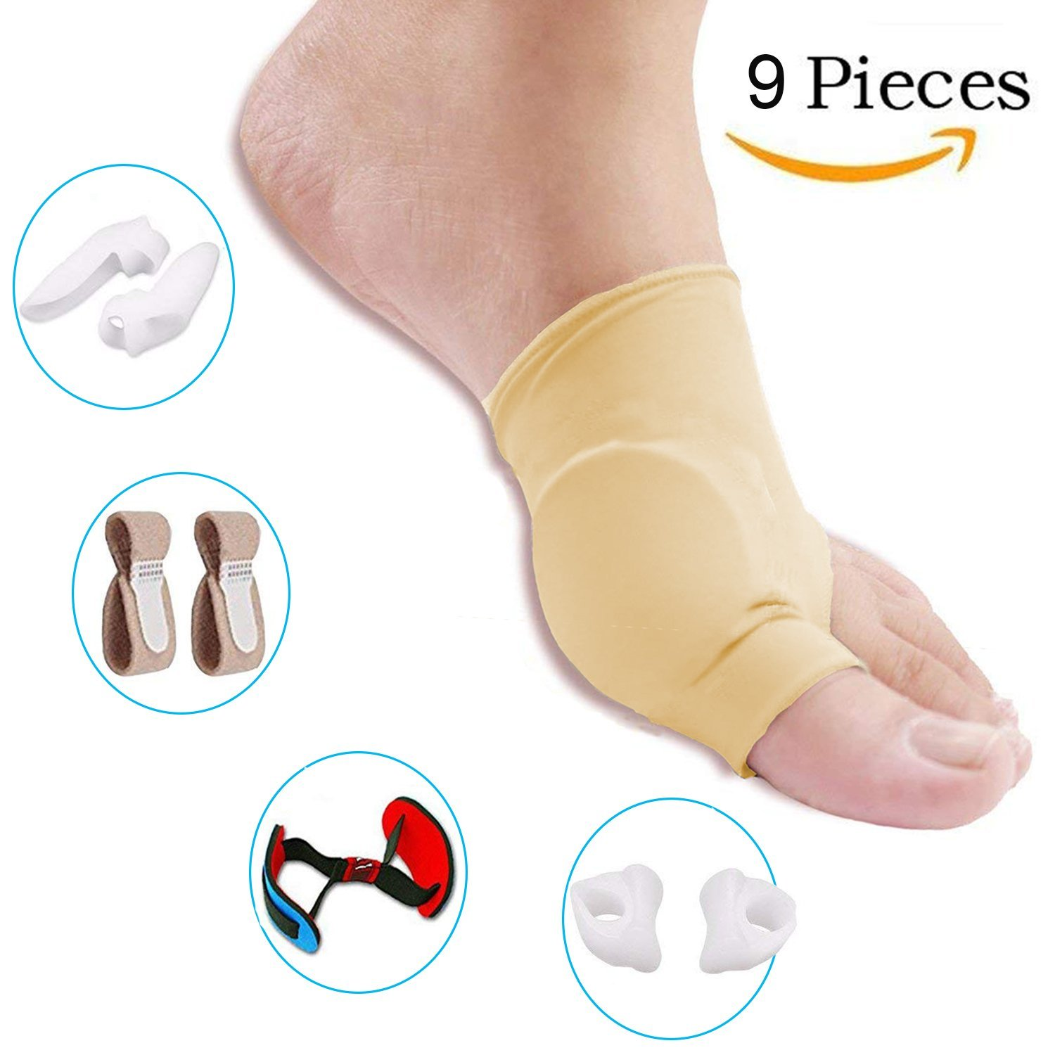 Bunion Corrector and Bunion Care Kit for Tailors Bunion, Hallux Valgus, Big Toe Joint, Hammer Toe, Toe Separators Spacers Straighteners Splint,Toe Straightener, Broken Toe Wraps (Beige)