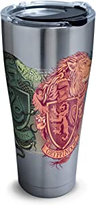 Tervis 1295913 Harry Potter-Illustrated Crests Insulated Tumbler with Clear and Black Hammer Lid, 30 oz Stainless Steel, Silver