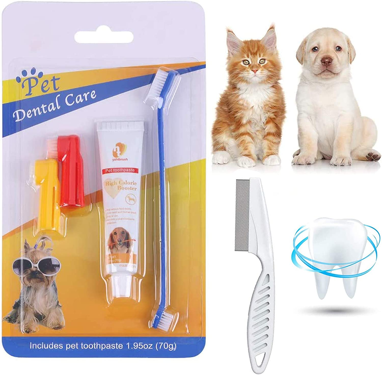 Smatoy Pasta Dental Perros,Cepillo de Dientes para Perro y Gato,Peine, Kit Cuidado Dental,Mejorar la Higiene Oral Previene la Enfermedad de Las Encías y la Placa (Cepillos)