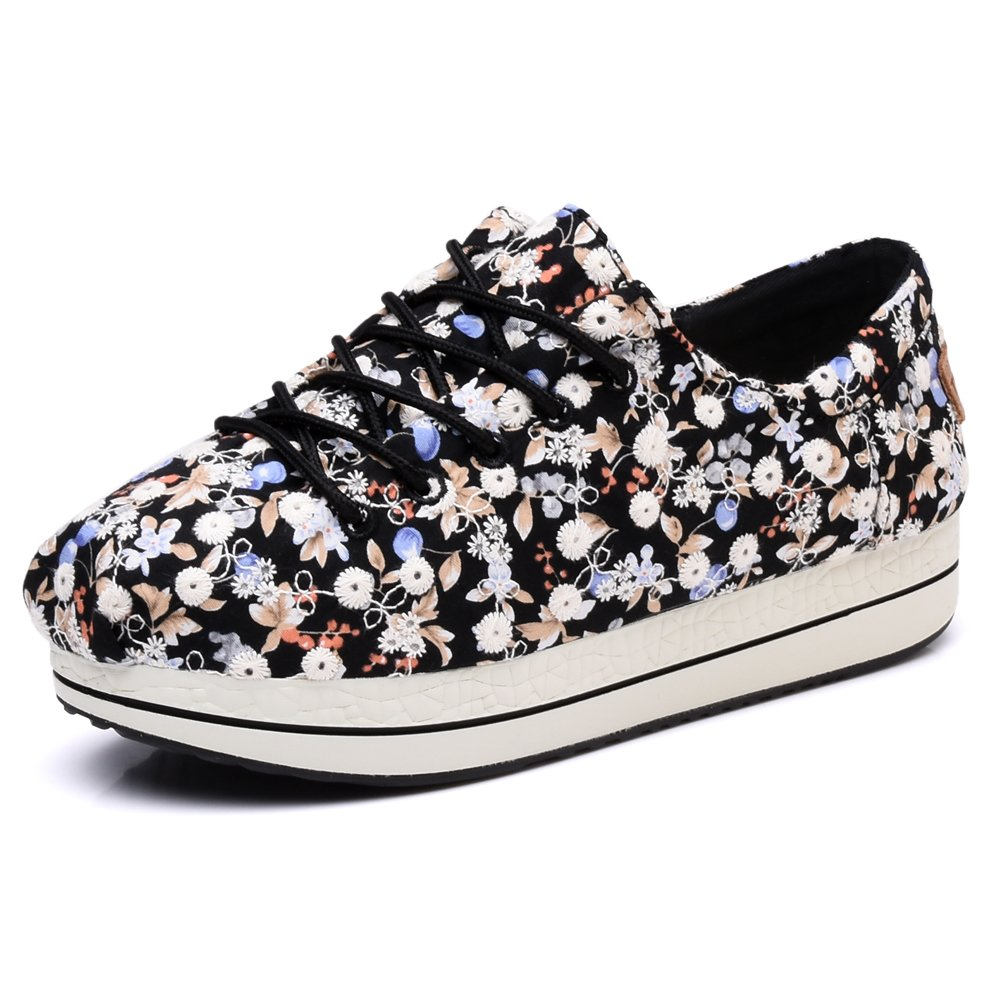 TIOSEBON Women's Floral Print Canvas Elastic Platform Shoes Lace-up Low Top Sneakers 6.5 US Black