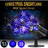 LED Projector Lights Christmas Decorations Snowflake Waterproof Landscape Spotlight for Valentine's Day Birthday Wedding Theme Party Garden Home Outdoor Indoor Decor (Blue)