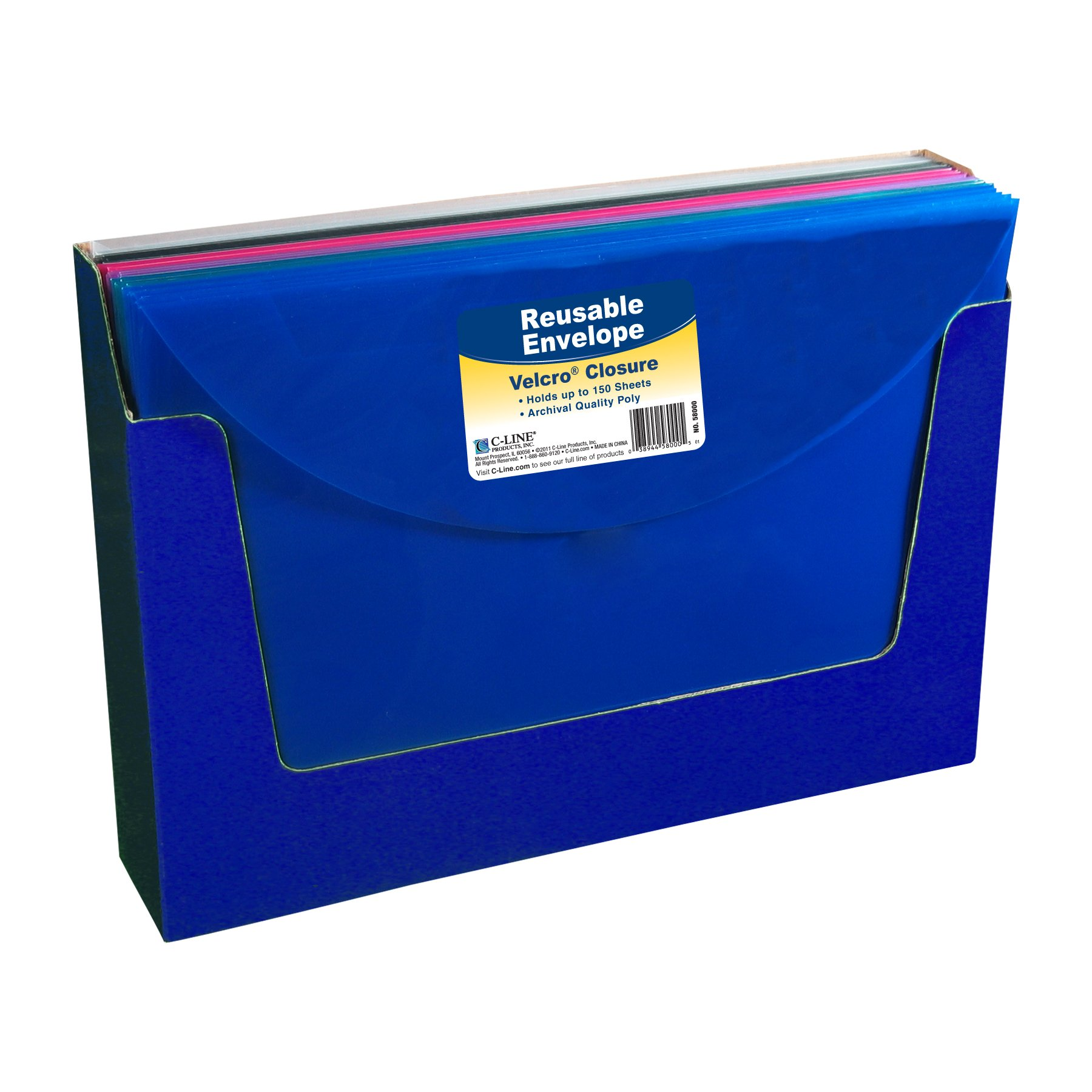 C-Line Reusable Poly Envelope, Hook and Loop Closure, Side Loading, Letter Size, Pack of 36, Assorted Colors (58000-36)