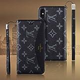 iPhone8/iPhone7/iPhone8 Plus/iPhone7 Plus/iPhone Xケース 手帳型 高級PUレザー スタンド機能 カード収納 衝撃吸収 軽量 耐摩擦 保護ケース 全面保護カバー アイフォン8/8P/7/7P/Xケース (iPhone X, ブラック)