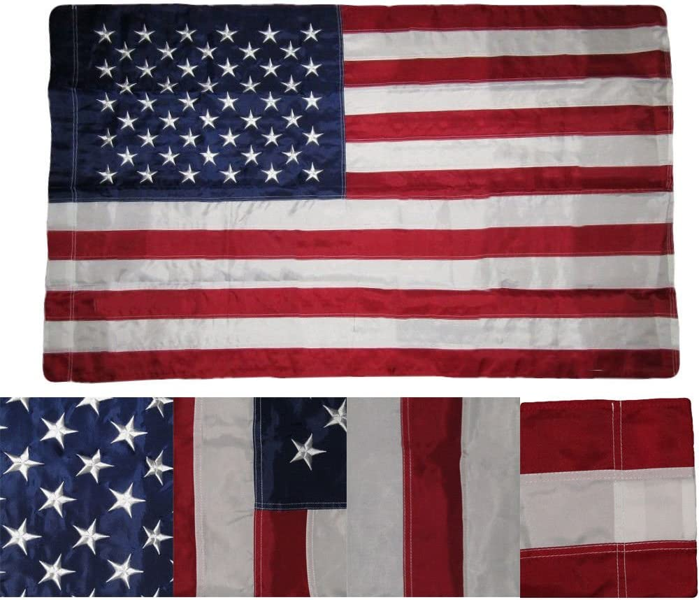 MWS Tradewinds 3X5 FT USA Embroidered Sleeved Pole Pocket Deluxe Nylon Stars US American Flag (Imported)