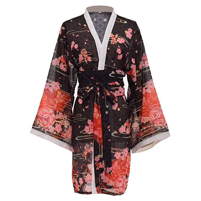 60fbfaee62a57 GRACEART Women's Sakura Kimono Yukata Bathrobe with Waistbelt Black:  Amazon.ca: Clothing & Accessories