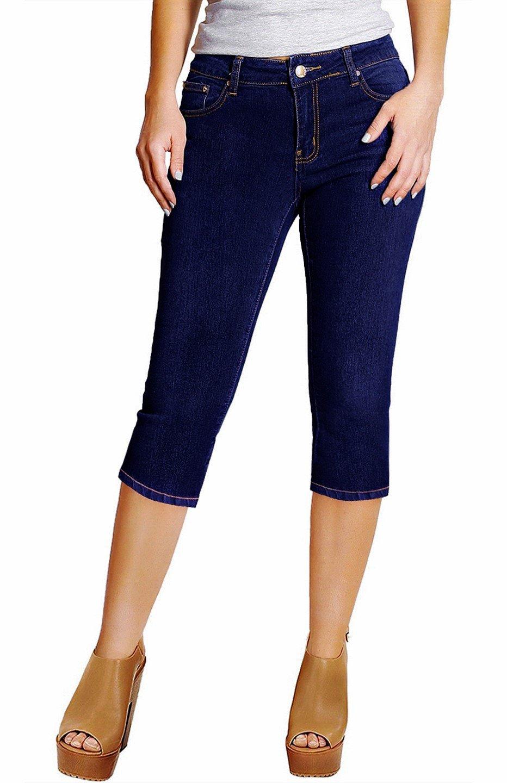 2LUV Women's Stretchy 5 Pocket Skinny Capri Jeans Indigo Blue 1