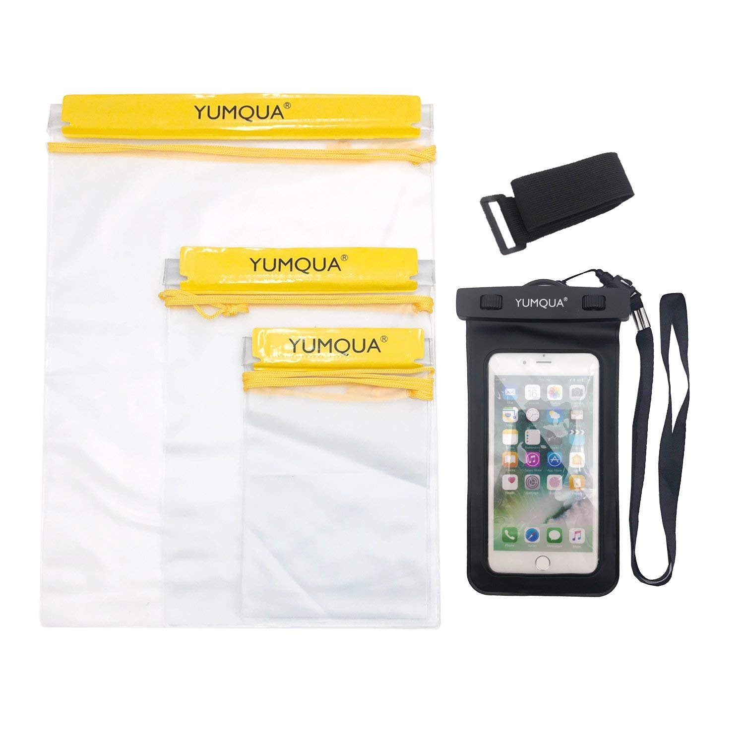 YUMQUA Clear Waterproof bags, Water Tight Cases Pouch Dry Bags + Waterproof Phone Case with Armband For Camera Mobile Phone Maps Backpack Kayak Military Boat Oars Document Holder - 4 Piece Set Dry bag-WPC-04-FBA
