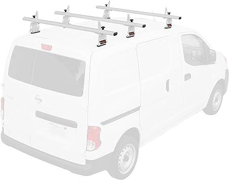 """50/"""" Fits:Nissan NV200 Van Top Roof Ladder Rack White Aluminum 3 Cross Bars"""