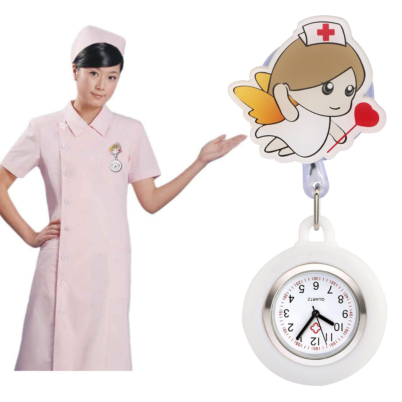 Top Plaza Girls' Kid's Cute Lovely Cartoon Angel Silicone Nurse Clip-on Fob Brooch Hanging Easy Pull Clasp Stretch Analog Quartz Pocket Watches,Set of 3#2 by Top Plaza (Image #6)