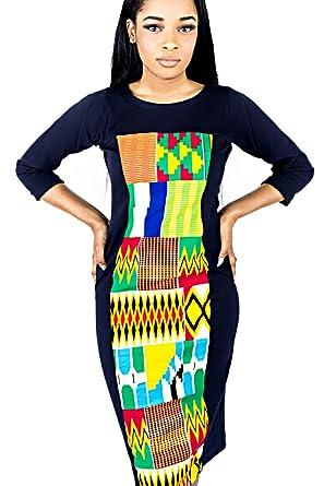 MODE ACP Robe Africaine en Tissu Strech et pagne Wax Cousu Main Amazon.fr  Vêtements et accessoires