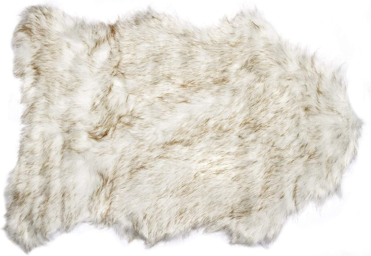 Luxe Faux Fur Luxury Soft Premium Quality Thick Lush Fade Resistant Shed Free 100 Animal-Free Gordon Faux Sheepskin Area Rug, 2 ft x 3 ft, Gradient Tan