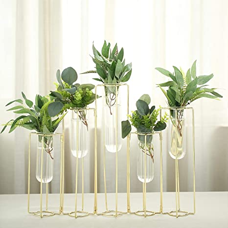 Tableclothsfactory Set Of 5 12 Conjoined Geometric Metal Flower Vase Racks Hydroponic Test Tube Vases For Wedding Table Decoration Home Kitchen