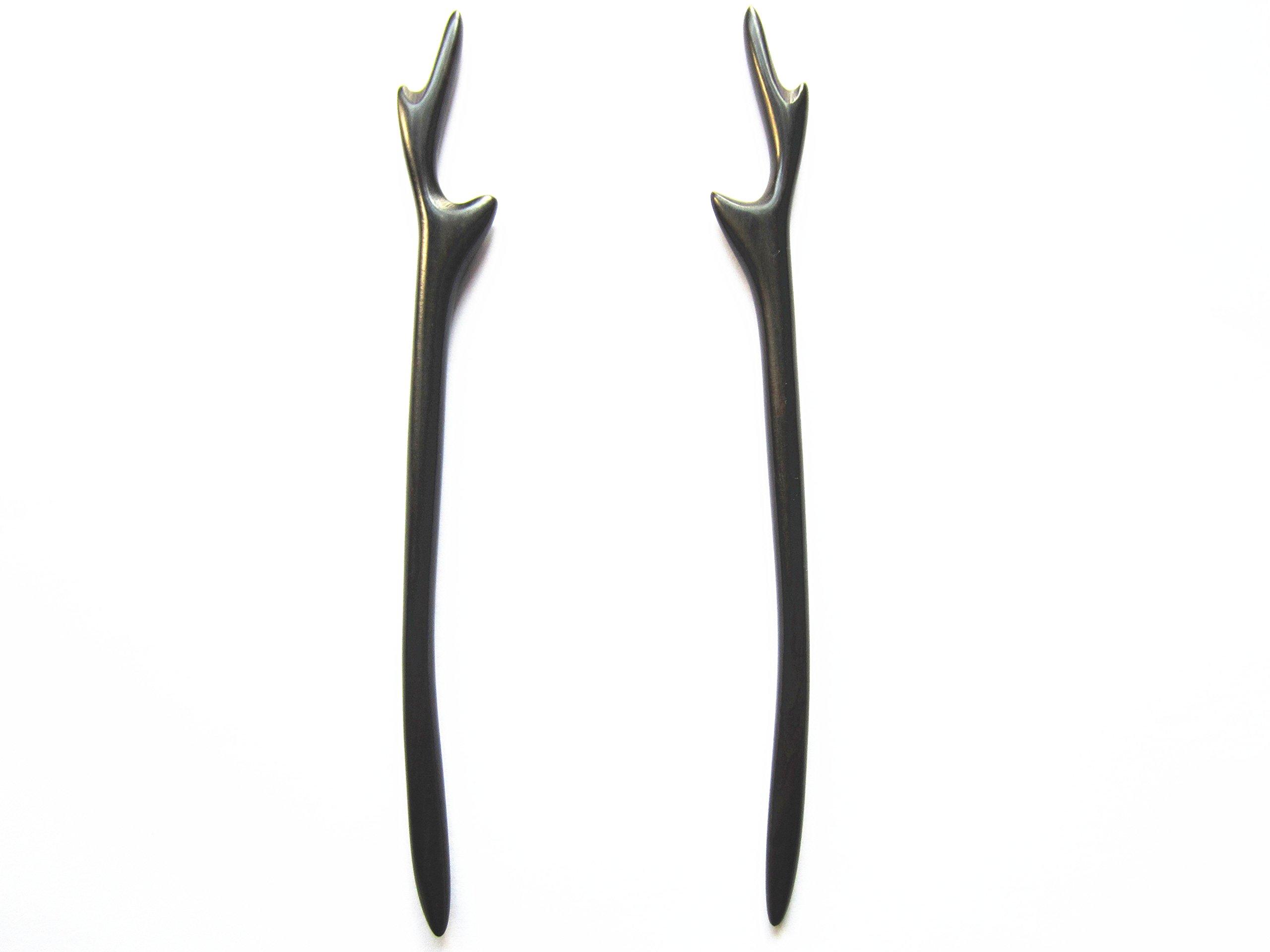 Myhsmooth Zz-bg-antlers 2 Count Hair Sticks Natural Black Sandalwood(ebony) Handmade Carved Hair Clip Shawl Hair Pins Pack of 2 Pcs :Antler