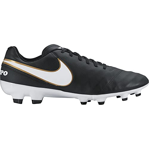 Nike Mens Tiempo Genio II Leather Fg Black White Metallic Gold Soccer Cleat  7 1be1084e2ac79