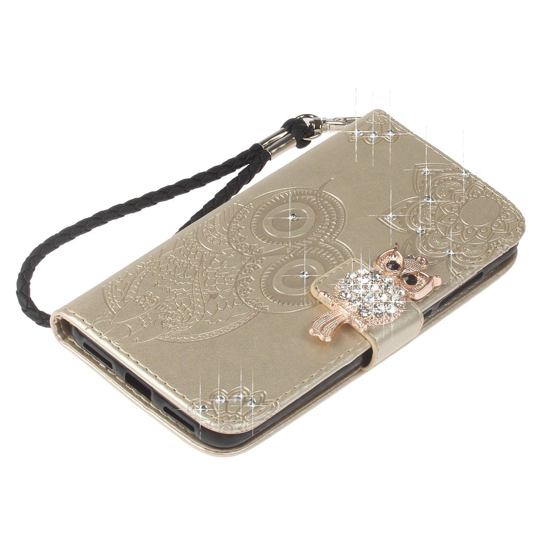 Homikon PU Leder H/ülle Glitzer Diamant 3D Eule Flip Brieftasche Handyh/ülle TPU Silikon Schutzh/ülle Lederh/ülle Kartenf/ächer Standfunktion Sto/ßfest Case Bumper f/ür Samsung Galaxy S8 Plus Braun rot