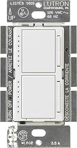 Lutron MA-L3L3-WH Maestro 300 Watt (top)/300 Watt (bottom) Single Pole Dual Dimmer, White