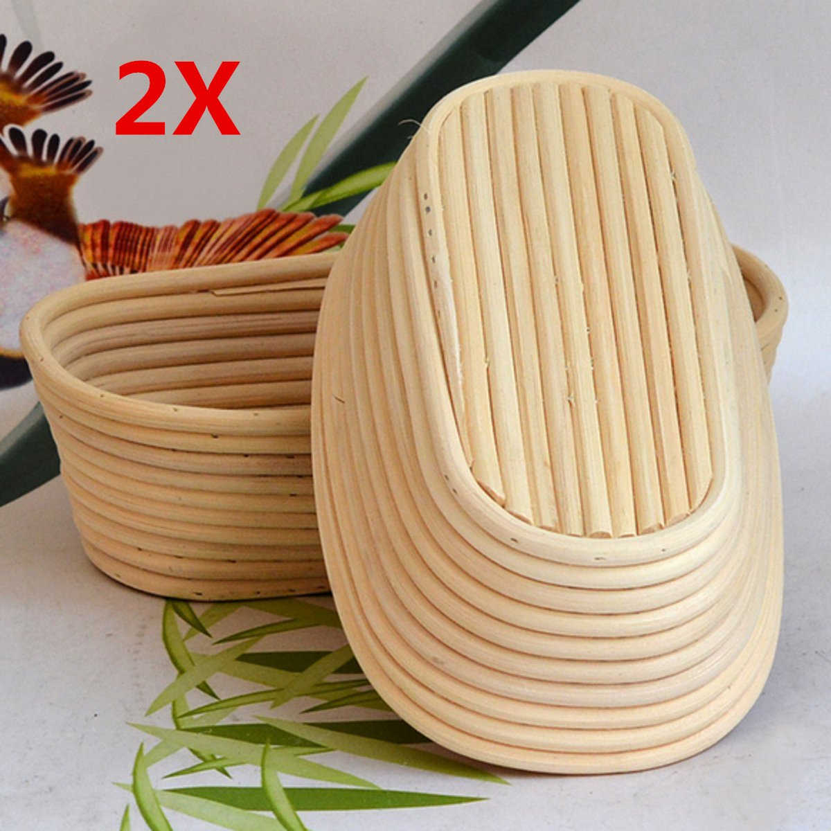 Jeteven 11 inch Banneton Bread Proofing Basket with Liner, Oval Perfect Brotform Proofing Rattan Basket for Making Beautiful Bread, Pack of 2