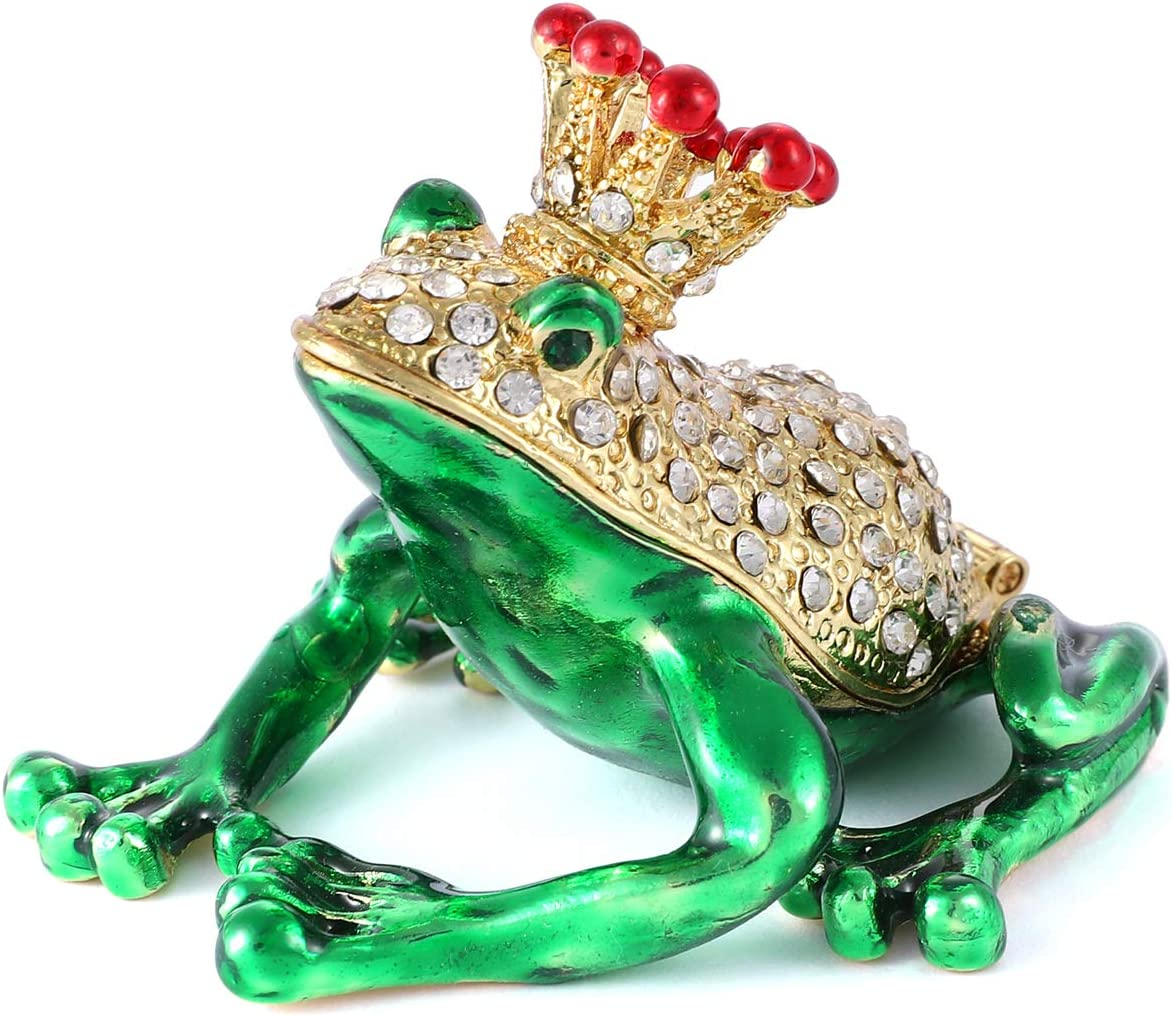 QIFU Frog Prince Hand Painted Enamel Hinged Jewelry Trinket Box | Best Ornament for Your Collection | Unique Gift for Home Decor