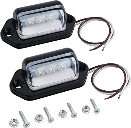 Replacement Bulb Included Universal License Lamp Light Assembly w//Wire Lead