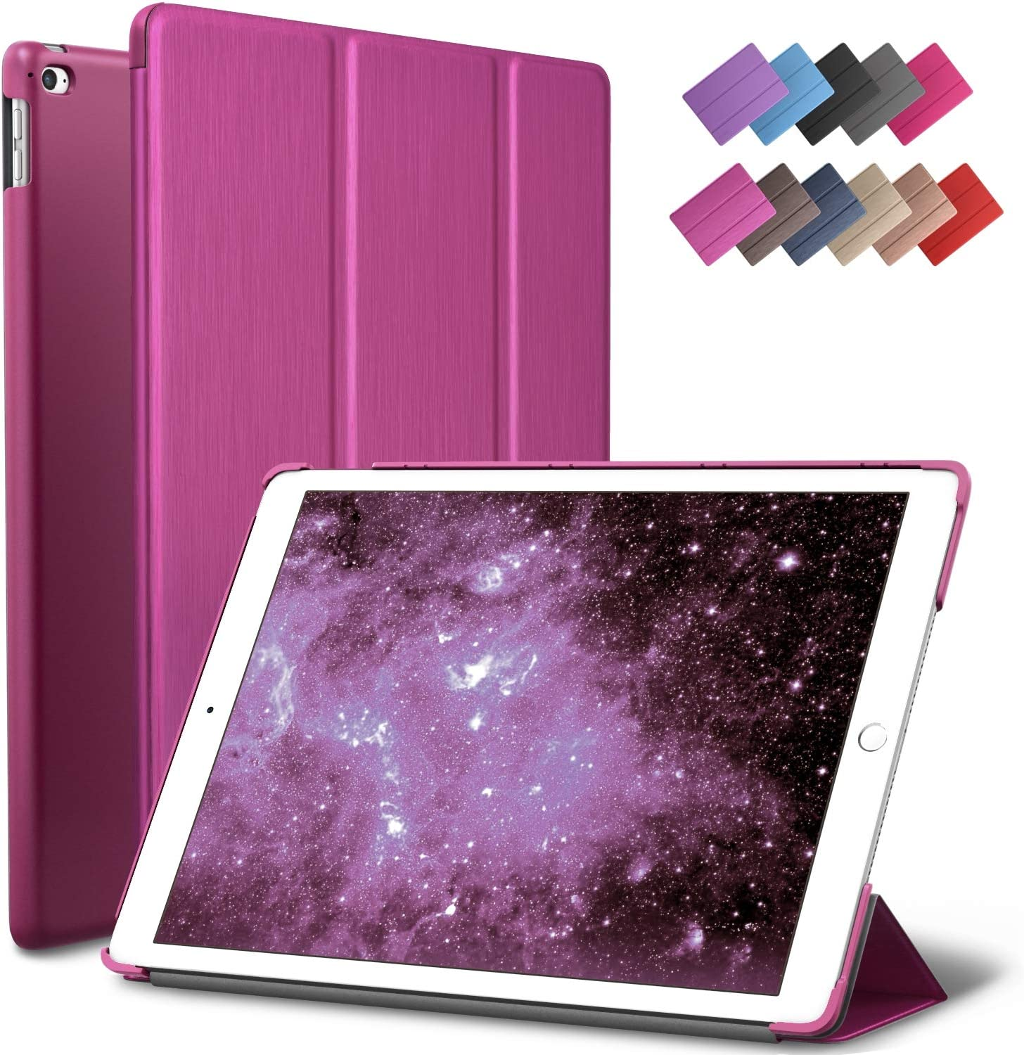 iPad Air 2 Case, ROARTZ Metallic Magenta Slim Fit Smart Rubber Coated Folio Case Hard Shell Cover Light-Weight Auto Wake/Sleep for Apple iPad Air 2nd Generation A1566/A1567 Retina Display