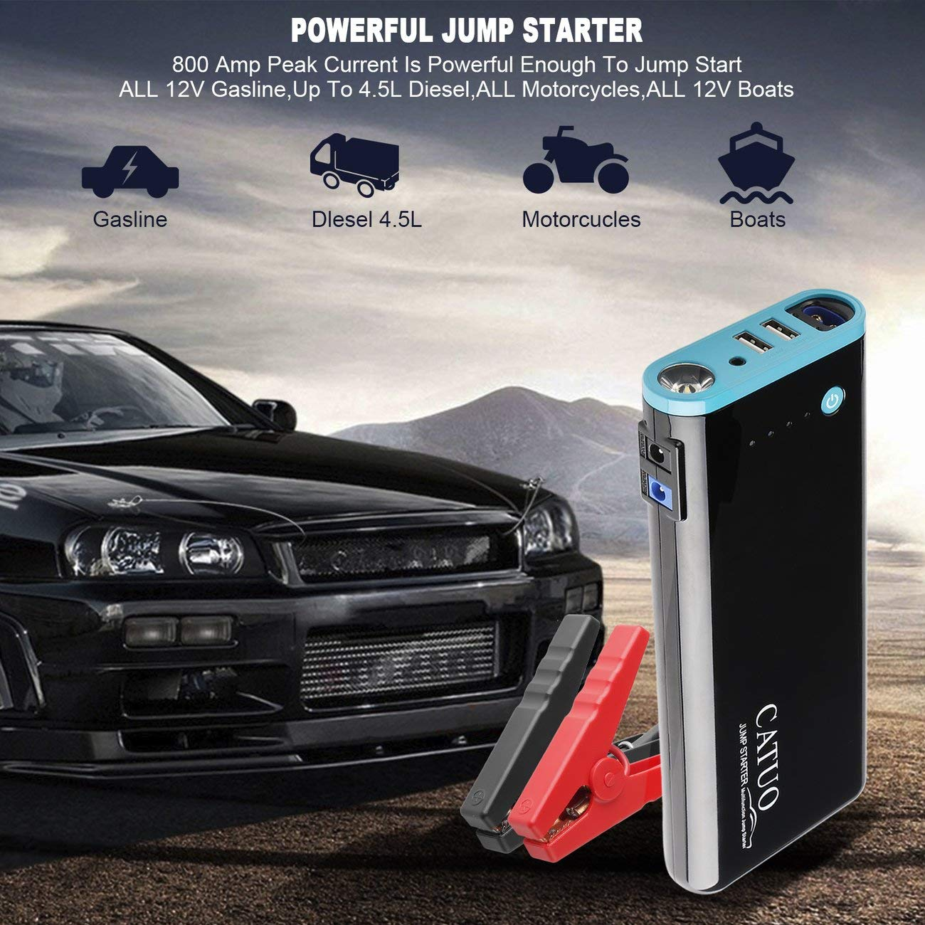 LasVogos CATUO 20000mAh Car Jump Starter Battery Booster with USB Power Bank by LasVogos (Image #2)