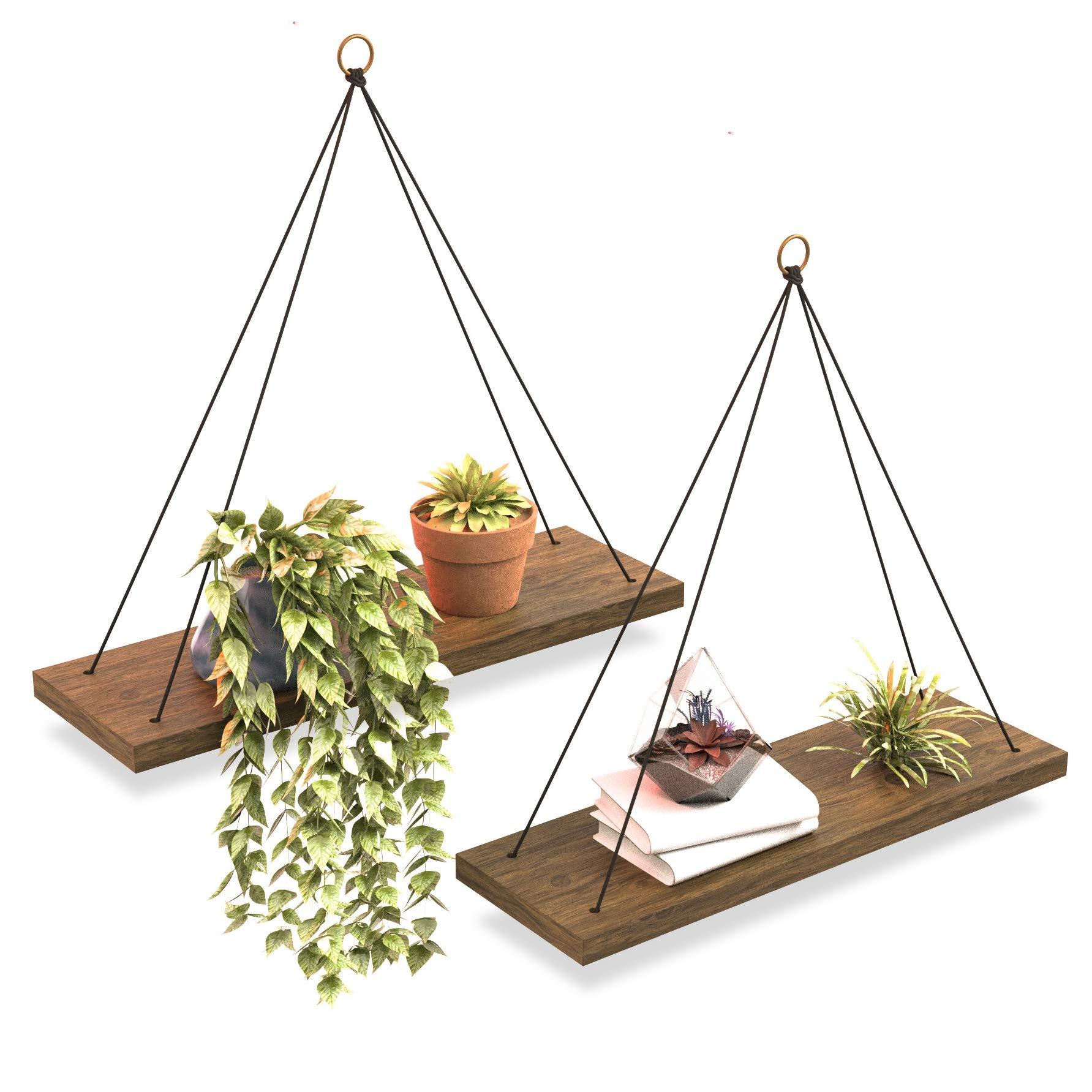 Boho Wall Hanging Shelf - Set of 2 Wood Hanging Shelves for Wall - Farmhouse Rope Shelves for Bedroom Living Room Bathroom - Rustic Wood Shelves - Hanging Wall Shelf - Triangle Floating Wood Shelves by Omysa