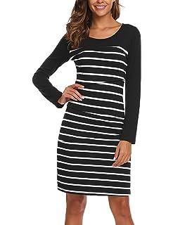 e43fed5622f1d Zeagoo Women's Maternity Nursing Dress Breastfeeding Striped Casual Clothing