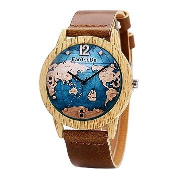 Tellaboull for Mapa del Mundo patrón de Las Mujeres Relojes de Madera Ronda dial Reloj de Pulsera de Cuarzo Damas Elegante Moda Relojes de Pulsera Mejor ...