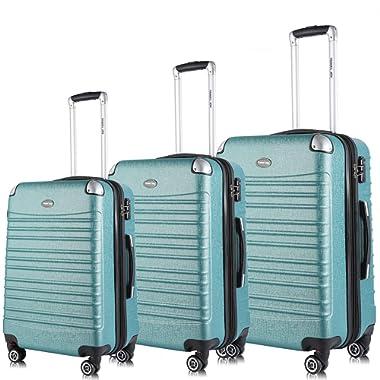 Travel Joy Expandable Luggage Set, Suitcases TSA Lightweight Spinner Luggage Sets, Carry On Luggage(Green, 3 pcs set(20 24 28 ))