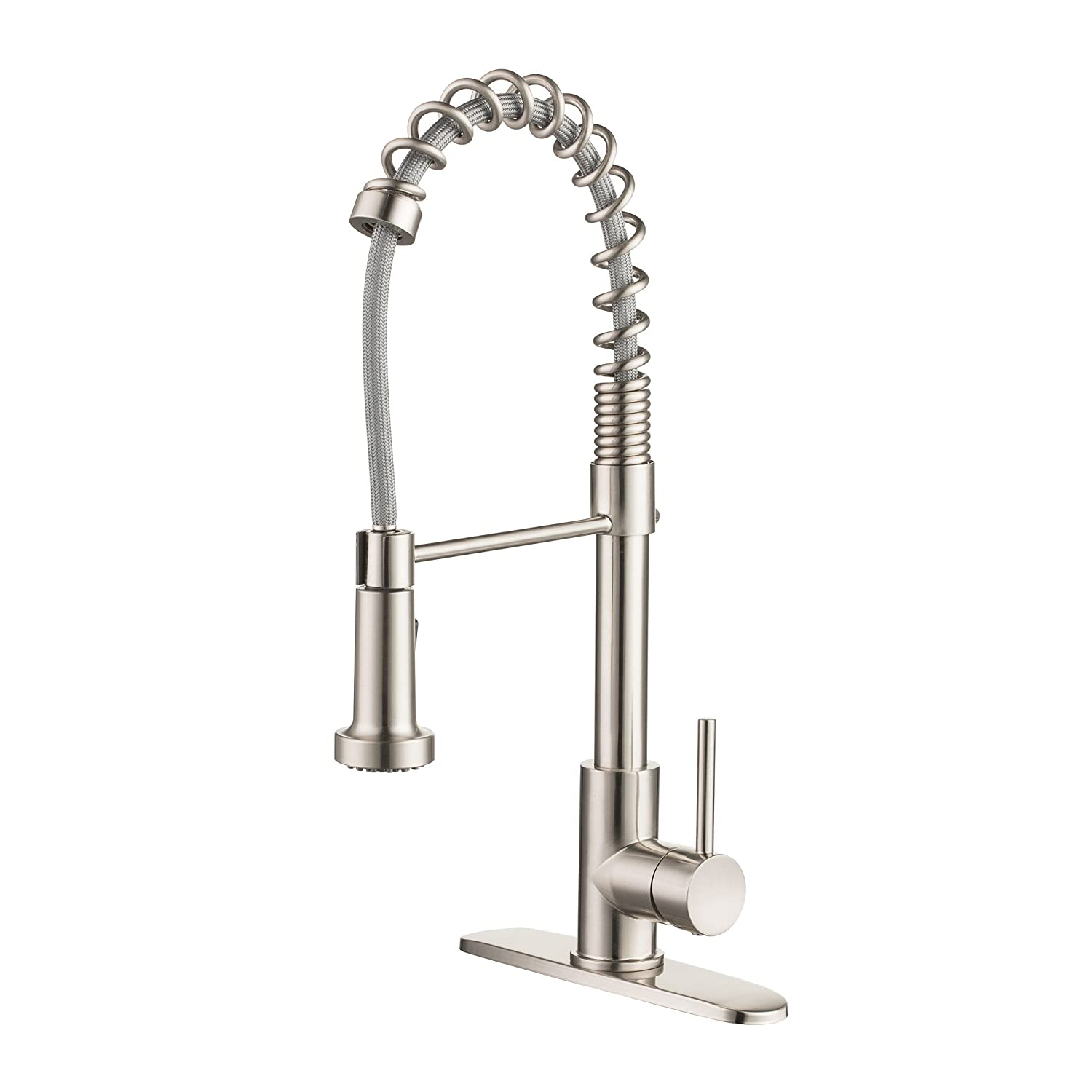 Enzo Rodi Modern Commercial Spring High-arc Lead-free Brass Pull-down Kitchen Sink Faucet with Pull-out Sprayer, Stainless Steel, ERF7358392AP-10