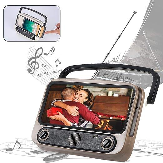 Volwco - Altavoz inalámbrico 3 en 1, estilo retro con soporte para teléfono, función de radio FM