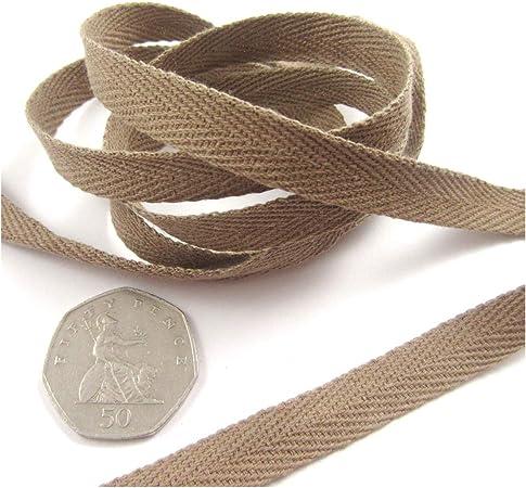 Cinta de sarga de 10 mm x 32 colores * Cinta de costura de algodón ligero banderines coloridos (marrón H4711, 5 metros): Amazon.es: Hogar
