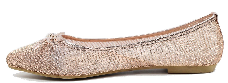 Walstar wedding shoes for bride Flat Shoes Mesh Flat Shoes B073WHKJM5 8 B(M) US Gold