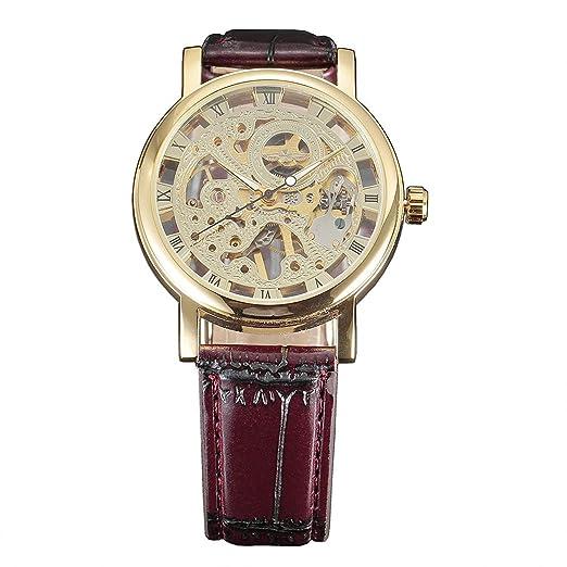 dde834287db1 Ganador Hombres de oro Hollow esqueleto mecánico (Hand-Winding) reloj de  pulsera con correa de piel  Amazon.es  Relojes