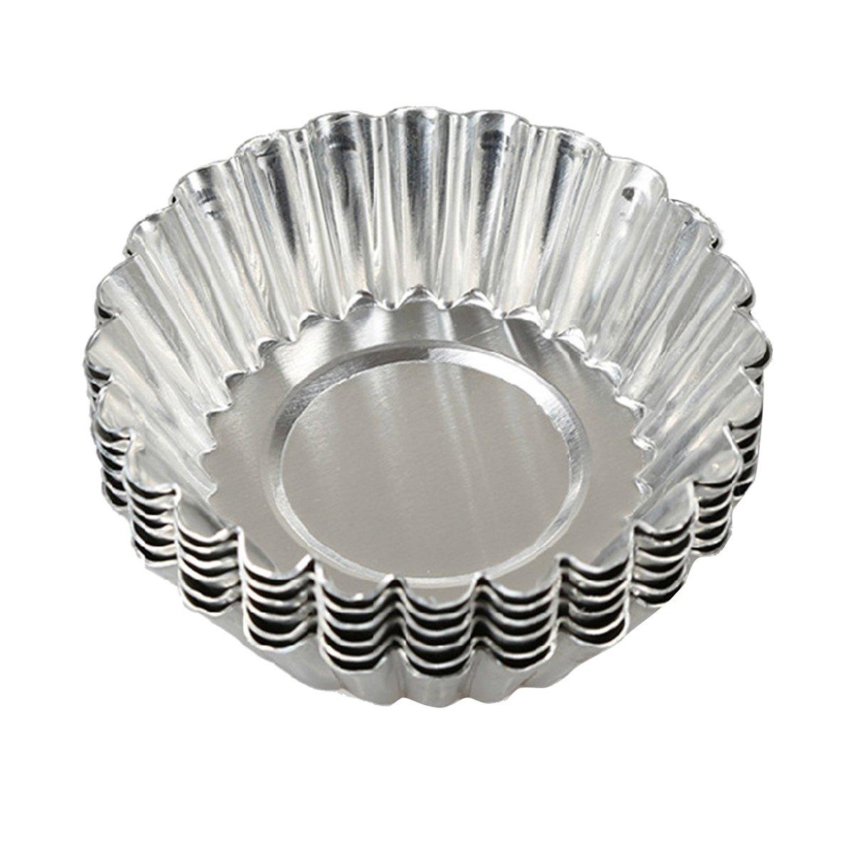 HugeStore 20pcs Silver Tone Aluminum Egg Tart
