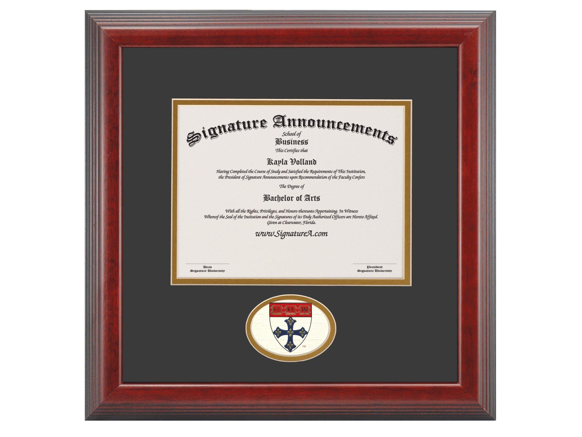 Signature Announcements Harvard-University-T.H-Chan-School-of-Public-Health-Graduate Sculpted Foil Seal Diploma Frame, 16'' x 20'', Cherry