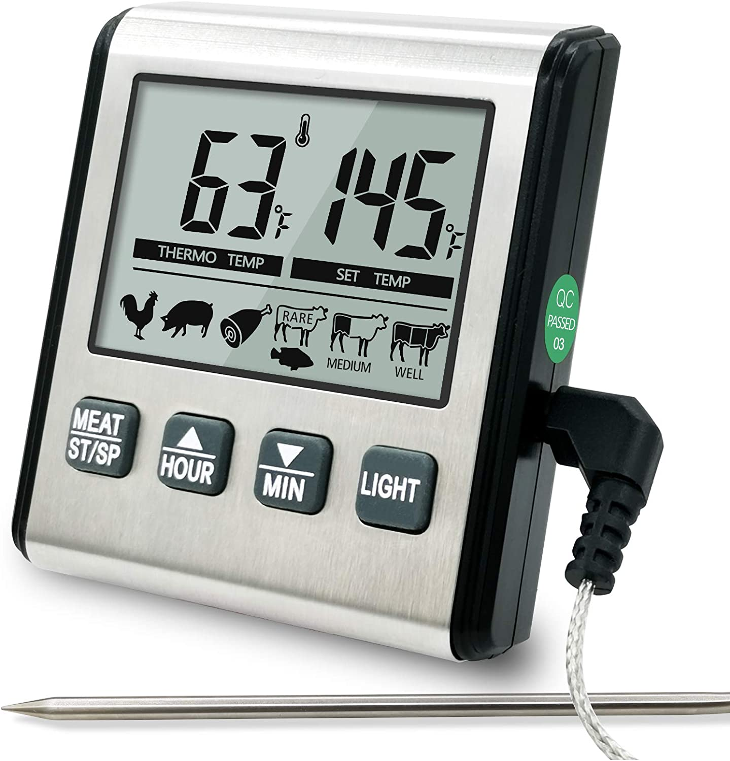 Digital Meat Thermometer for Cooking - Instant Read Food Thermometer with Stainless Steel Probe,Timer for Kitchen,Oven Safe,BBQ,Grill,Smoker