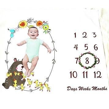 Amazon.com: Bebé Mensual Milestone manta, suave manta de ...
